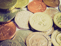 Retro look Pounds. Vintage looking Detail of British Pound coins banknotes money Royalty Free Stock Image