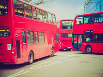 Retro look Red Bus in London Stock Images