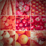 Retro look Red food collage royalty free stock images
