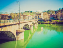 Retro look River Po Turin Royalty Free Stock Images
