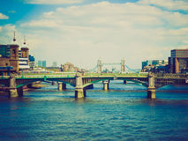 Retro look River Thames in London Stock Images