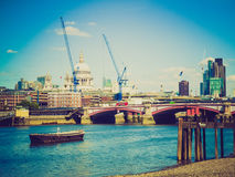 Retro look River Thames in London Stock Photography