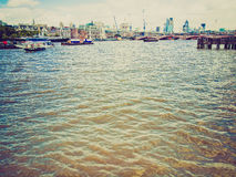 Retro look River Thames in London Stock Photos