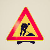 Retro look Road work sign Stock Images