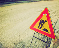 Retro look Road works Stock Images