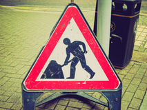 Retro look Roadworks sign Royalty Free Stock Images