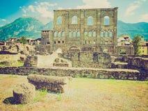 Retro look Roman Theatre Aosta Royalty Free Stock Photography