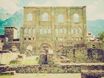 Retro look Roman Theatre Aosta Stock Photos