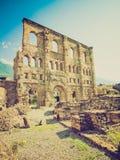 Retro look Roman Theatre Aosta Royalty Free Stock Photos