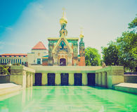 Retro look Russian Chapel in Darmstadt Royalty Free Stock Image