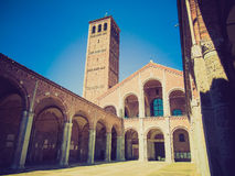 Retro look Sant Ambrogio church, Milan Stock Photo
