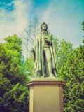 Retro look Schiller statue in Frankfurt Stock Photography