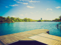 Retro look Serpentine lake, London Royalty Free Stock Photos