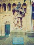 Retro look St Bonifatius monument in Mainz. Vintage looking Statue of St Bonifatius in Mainz Germany royalty free stock photos