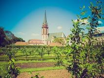 Retro look St Elizabeth church in Darmstadt Royalty Free Stock Images