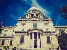 Retro look St Paul Cathedral London Stock Photo
