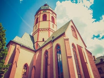 Retro look St Stephan church Mainz. Vintage looking St Stephan church in Mainz in Germany Royalty Free Stock Images