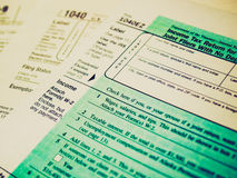 Retro look Tax forms Stock Image