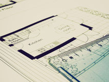 Retro look Technical drawing Royalty Free Stock Image