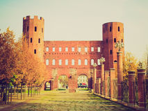 Retro look Torri Palatine, Turin Royalty Free Stock Image
