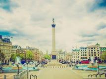 Retro look Trafalgar Square, London Royalty Free Stock Image