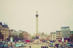 Retro look Trafalgar Square Stock Image