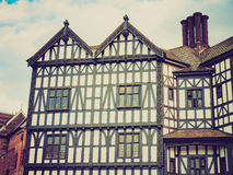 Retro look Tudor building. Vintage looking Ancient wooden frame Tudor building in Coventry, UK Royalty Free Stock Photos