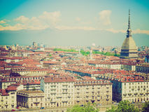 Retro look Turin view Royalty Free Stock Photos