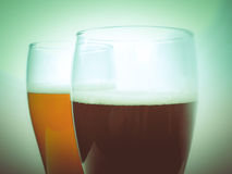 Retro look Two glasses of German beer Royalty Free Stock Images