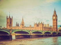 Retro look Westminster Bridge Royalty Free Stock Images