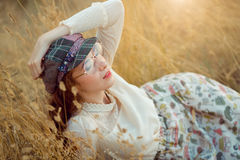 Retro look woman on the nature concept Royalty Free Stock Photo