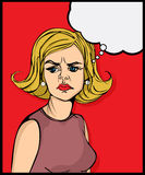 Retro looking angry woman. Pop art graphic Royalty Free Stock Photos
