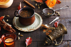 Retro  looking image of cup of spiced coffee Stock Photo