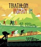 Retro lopptryck Retro triathlonaffisch Affischsportkonkurrenser Royaltyfri Bild