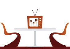 Retro Lounge. Stylin retro lounge, with table, chairs and vintage television. Isolated on white background stock illustration