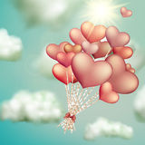 Retro love balloons on blue sky. EPS 10. Vector file included Royalty Free Stock Photos