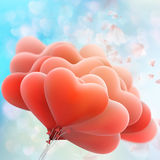 Retro love balloons on blue sky. EPS 10. Vector file included Stock Photography