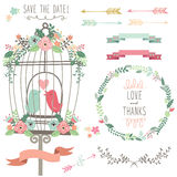 Retro Love Birdcage and Wedding Flowers Stock Photos