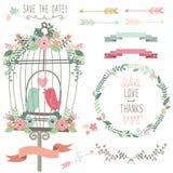 Retro Love Birdcage and Wedding Flowers Stock Photos