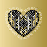 Retro love card. Heart design with golden backgound. Stock Images