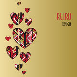 Retro love card. Heart design with golden background. Royalty Free Stock Photography