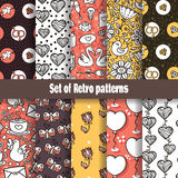 Retro love pattern collection. Royalty Free Stock Image