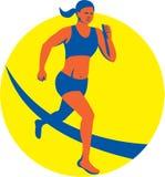 Retro löpare för kvinnligTriathlete maraton Arkivbild