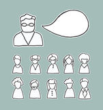 Retro ludzie ikon z mowa bąblem Fotografia Royalty Free