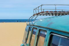 Retro luggage on VW classic kombi. The Hague, the Netherlands - 21 May, 2017: retro luggage on VW classic kombi at the beach Stock Photo