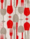 Retro lunch. Seamless vector pattern in retro style Stock Photos
