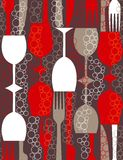 Retro lunch - seamless pattern Royalty Free Stock Image