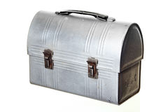 Retro lunchbox. Old-fashioned Metal Lunch Box, isolated against white ground royalty free stock photos