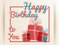 Retro lycklig födelsedag till dig med gåvor. Vektorillustration. Royaltyfri Foto