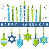 Retro lyckligt Hanukkah kort [5] Royaltyfri Bild